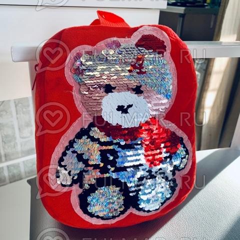 Рюкзак детский плюшевый красный с пайетками меняет цвет рисунок Мишка
