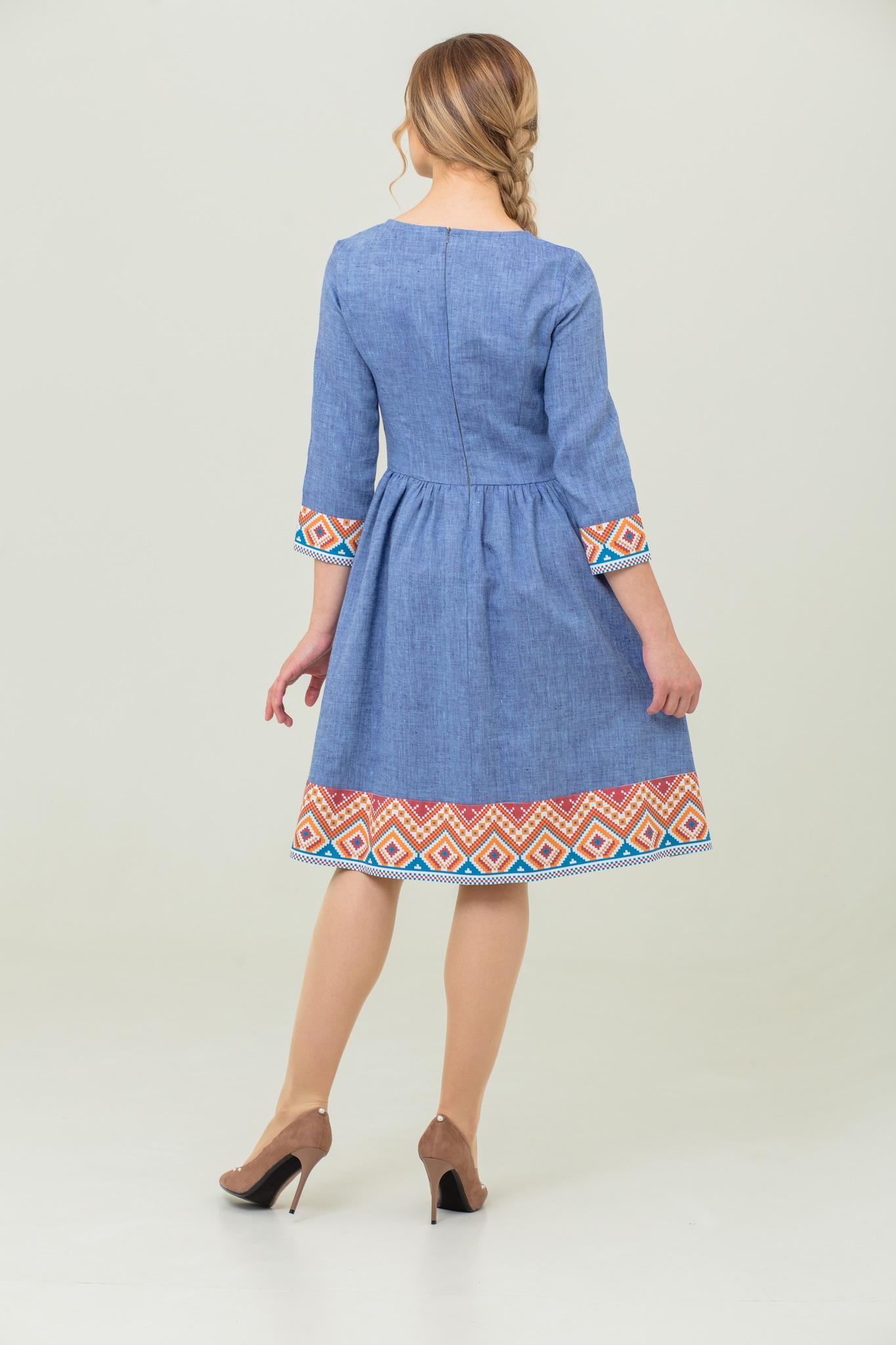 льняное платье бохо Синий меланж купить с доставкой