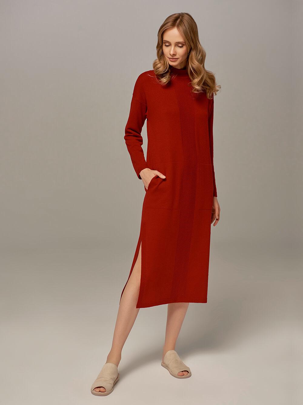 Женское платье красного цвета из шерсти и кашемира - фото 1