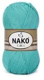 Пряжа Nako Calico зеленая бирюза 10873