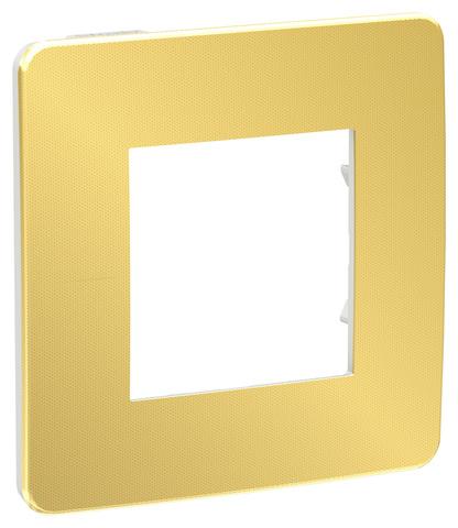 Рамка на 1 пост. Цвет Золото/белый. Schneider Electric Unica Studio. NU280259