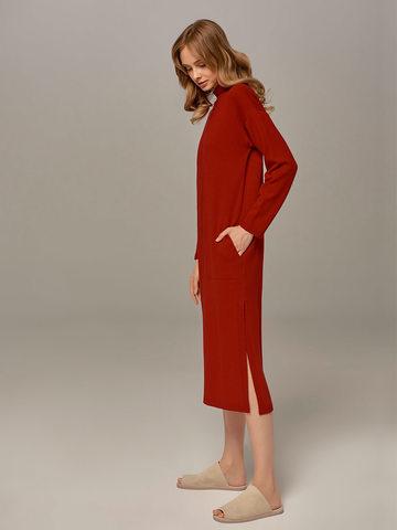 Женское платье красного цвета из шерсти и кашемира - фото 2