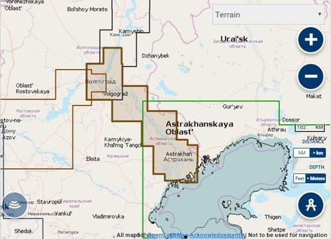 Карта: Волгоград - Астрахань, Navionics+ Small 5G630S2
