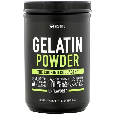 Sports Research, Коллагеновый протеин, (говяжий желатин, без ароматизаторов), 454 г (16 oz)
