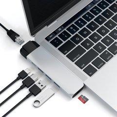 """USB-хаб  Satechi Aluminum Pro Hub с Ethernet для MacBook Pro 13"""" и 15""""с 2016, серебряный"""