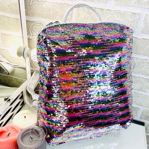 Рюкзак большой школьный для ноутбука планшета прямоугольный с пайетками меняющий цвет Радужный-Серебристый