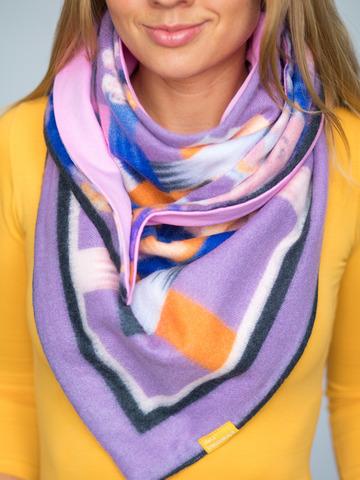 Косынка на клепке полушерстяная с хлопком цветочная фиолетовая с сине-рыжим и розовым