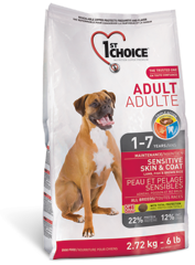 Корм для взрослых собак, 1st Choice Adult, с чувствительной кожей и для шерсти, с ягненком, рыбой