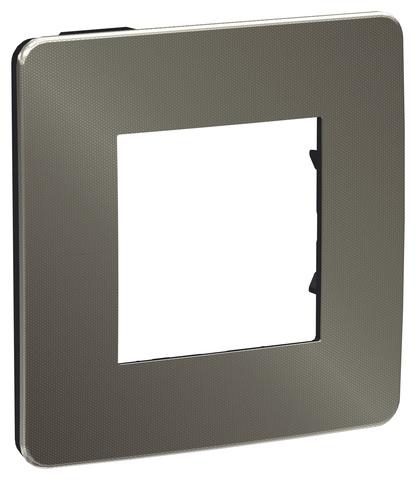 Рамка на 1 пост. Цвет Никель/антрацит. Schneider Electric Unica Studio. NU280253