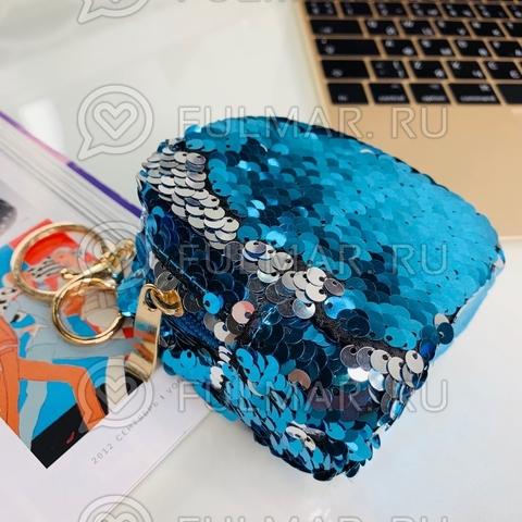 Ключница-брелок в двусторонних пайетках Голубая-Серебристая
