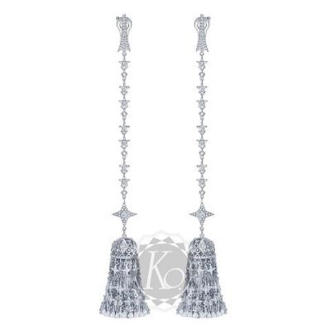 4638-Серьги из серебра с цирконами c густыми, подвесками кисточками