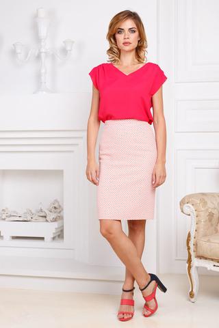 Фото розовая блузка со спущенными плечами и v-образным вырезом - Блуза Г624-117 (1)