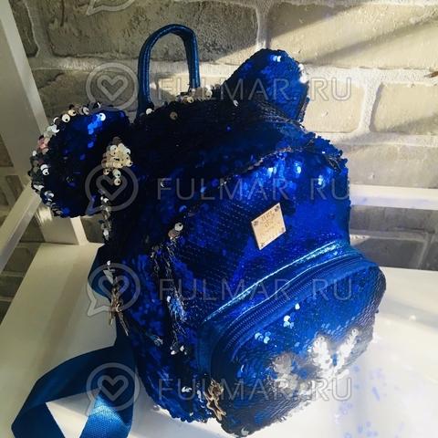 Рюкзак синий с ушами с пайетками меняющий цвет Синий-Серебристый Звезда