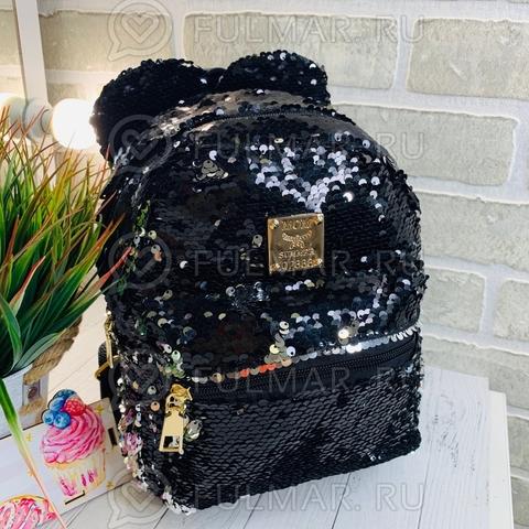 Рюкзак с пайетками и круглыми ушами меняет цвет Чёрный-Серебристый