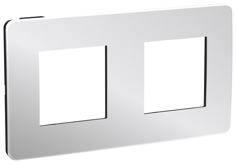 Рамка на 2 поста. Цвет Хром/антрацит. Schneider Electric Unica Studio. NU280456