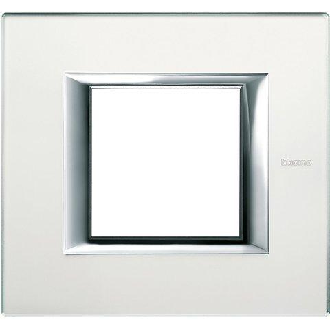 Рамка 1 пост, прямоугольная форма. СТЕКЛО. Цвет Матовое стекло. Немецкий/Итальянский стандарт, 2 модуля. Bticino AXOLUTE. HA4802VSA