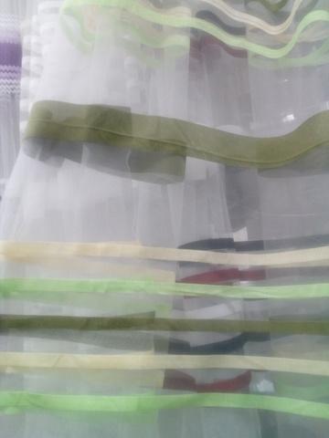 Микросетка с вышивкой полосы оливковые. Ширина - 280 см. Арт. АF-323-2