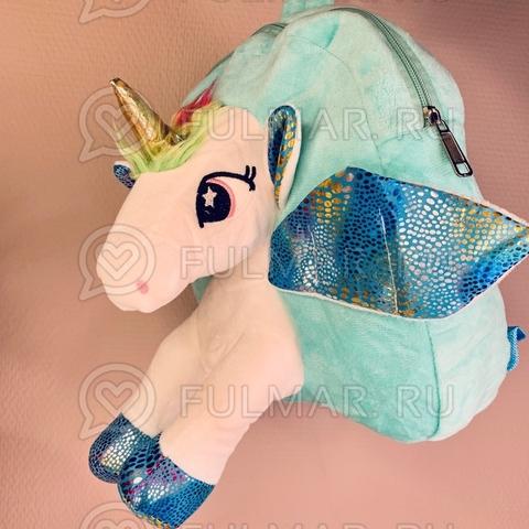 Рюкзак детский для девочки Единорог плюшевый (цвет: бирюзовый)