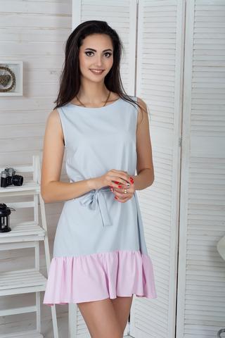 Долли. Молодежное платье с рюшей. Серый