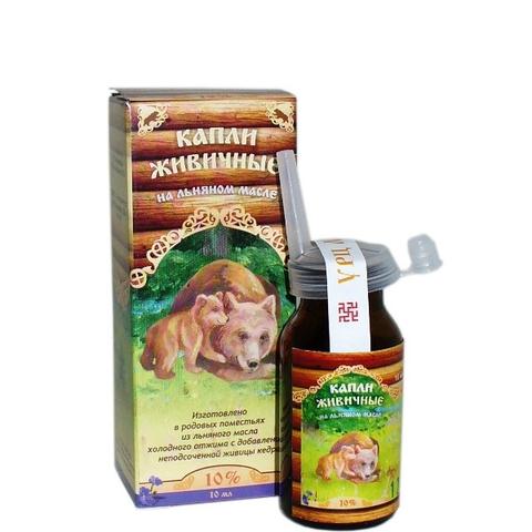 Капли живичные для носа на льняном масле 10 мл (Медведь)
