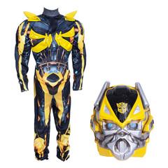 Трансформер Бамблби Делюкс. Карнавальный костюм для мальчика с мускулами и светящейся маской