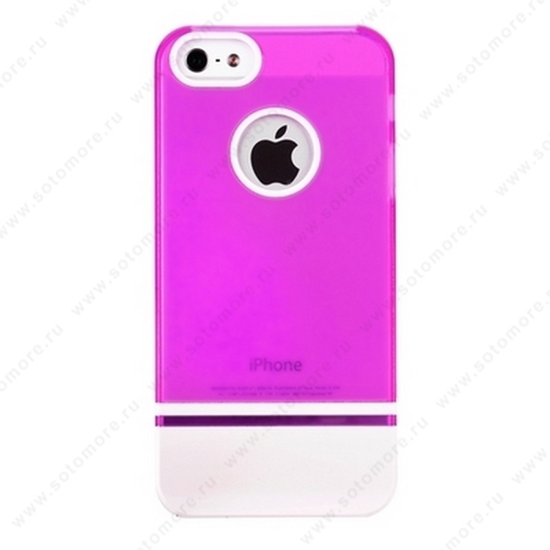 Накладка MOBILE 7 для iPhone SE/ 5s/ 5C/ 5 розовый верх белый низ
