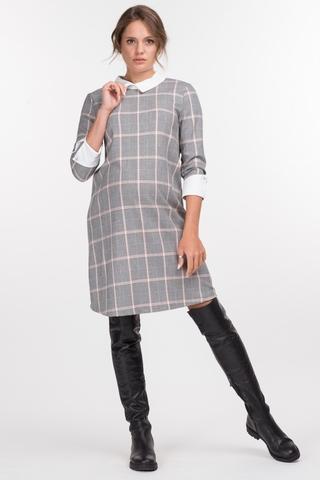 Платье для беременных 11014 черно-розовый/клетка