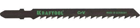 Полотна KRAFTOOL, T111C, для эл/лобзика, Cr-V, по дереву, ДВП, ДСП, грубый рез, EU-хвост., шаг 3мм, 75мм, 5шт