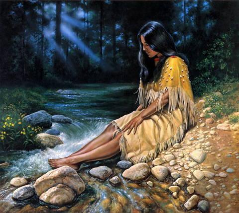 Картина раскраска по номерам 30x40 Девушка у ручья
