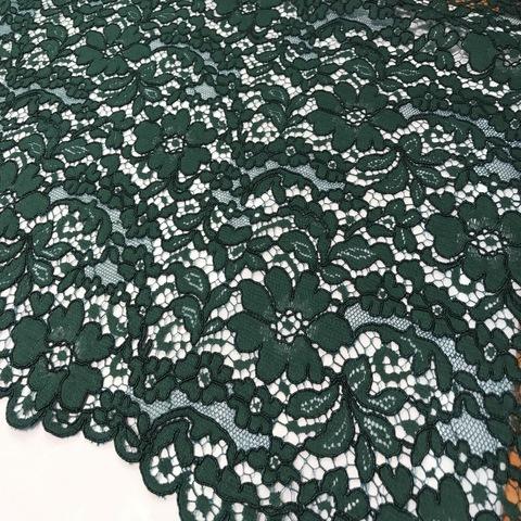 Ткань кружево кордовое цвет темно-зеленый 3128