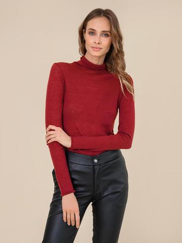 Женский свитер бордового цвета из 100% шерсти - фото 2