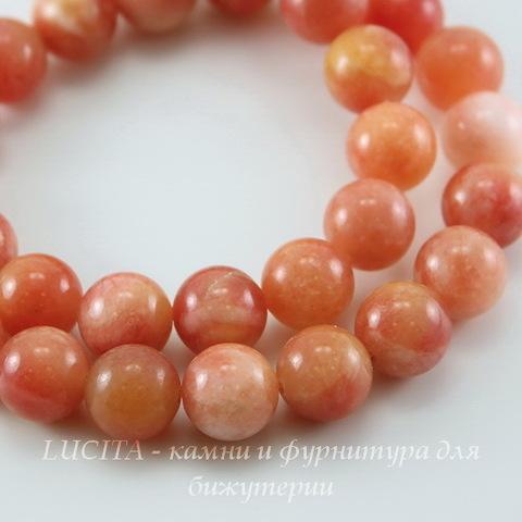 Бусина Жадеит (тониров), шарик, цвет - персиково-розовый, 10 мм, нить