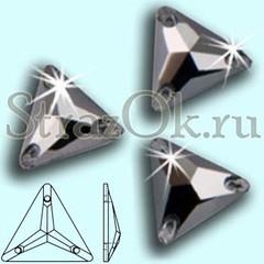 Стразы пришивные стеклянные Triangle Jet Hematite, Треугольник Джет Гематит, черный металлик на StrazOK.ru