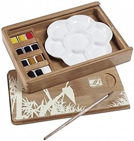 Набор акварели Lefranc&Bourgeois  FINE. Кюветы в бамбуковой коробке (12 шт)