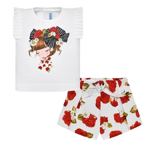 Комплект Mayoral блузка и шорты с розами