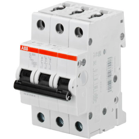 Автоматический выключатель 3-полюсный 100 А, тип C, 6 кА S203 C100. ABB. 2CDS253001R0824