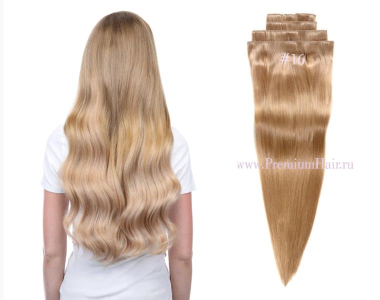 Натуральные волосы на заколках тон 16 светло-русый