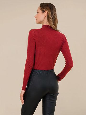 Женский свитер бордового цвета из 100% шерсти - фото 4