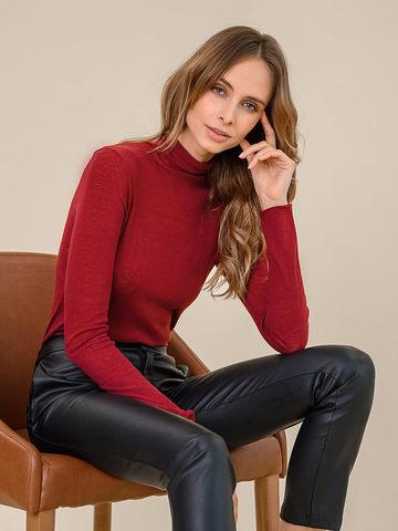Женский свитер бордового цвета из 100% шерсти - фото 3