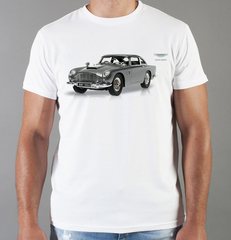 Футболка с принтом Астон Мартин (Aston Martin) белая 008