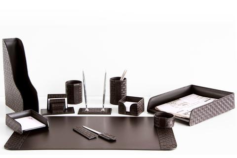 Настольный набор 11 предметов из кожи Treccia/шоколад №51