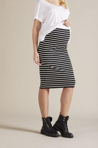 Юбка для беременных 09797 черно-белая полоска
