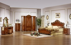 """Спальня """" Виктория"""" (Кровать 180*200 - 2 тумбы прикроватных - туал. столик с зеркалом ) —  Темный орех (Виктория 3)"""