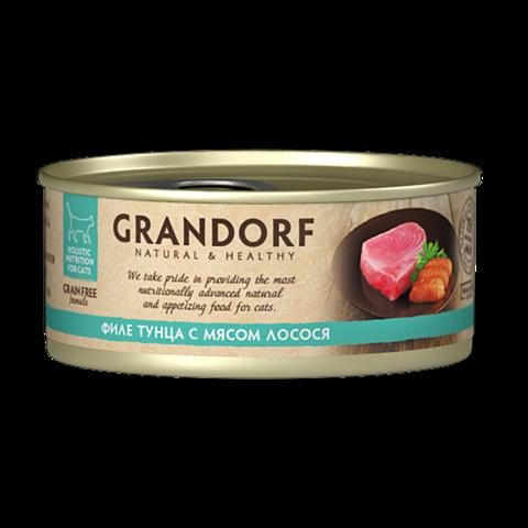 Grandorf Tuna with Salmon in Broth Консервы для кошек Филе тунца с мясом лосося