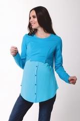 Рубашка для беременных и кормящих цвет бирюза