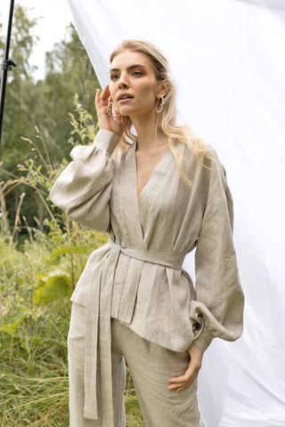 Кимоно из льна светло-серого цвета