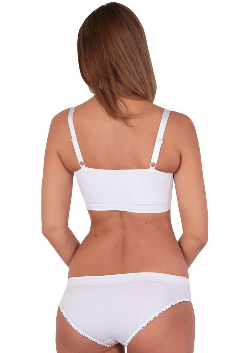 Фото топ бесшовной EUROMAMA, белый, с дополнительной поддержкой груди.