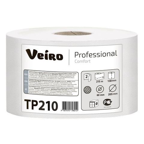 Бумага туалетная в рулонах Veiro Professional Comfort 2-слойная 6 рулонов по 215 метров (артикул производителя TP210)