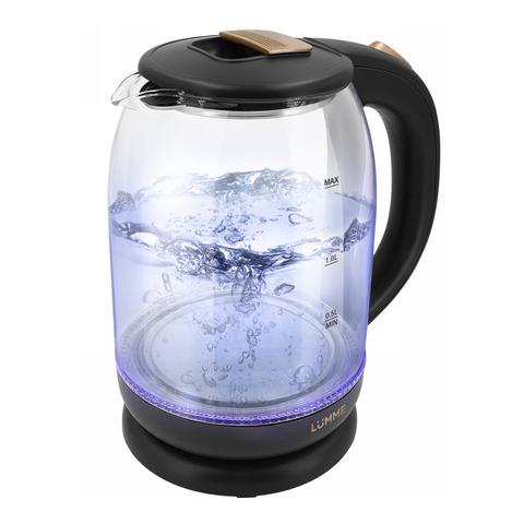 Электрический стеклянный чайник LUMME LU-142 темное золото