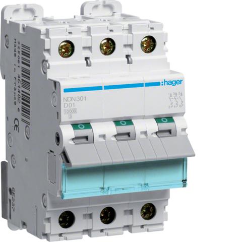 Автоматический выключатель 3Р, D-1A, 10kA